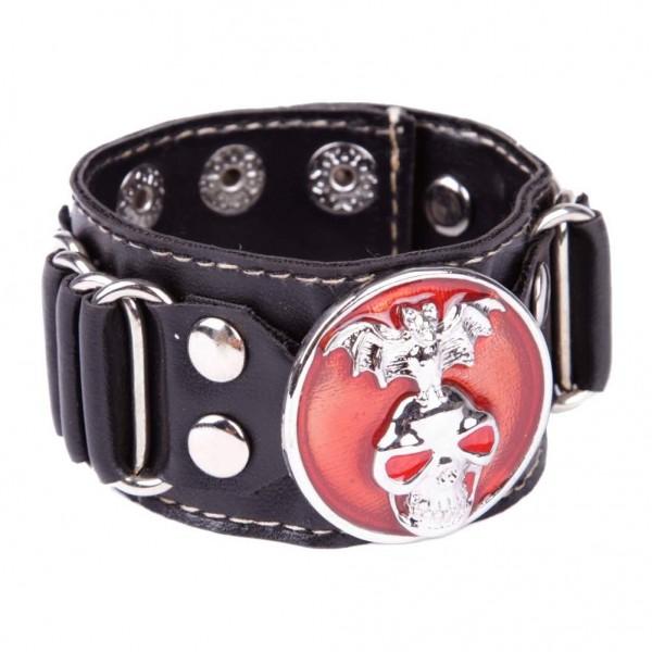 Kunstleder Armband mit metallschnalle - Totenkopf mit Fledermaus - Rot