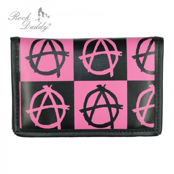 Anarchy Design Print Geldbörse im Karo Design Schwarz Pink