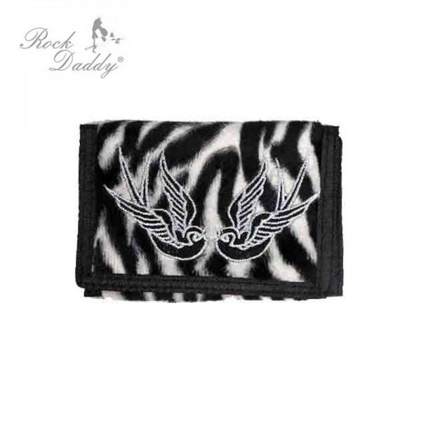 Zebra Geldbeutel mit Schwalben Stickerei