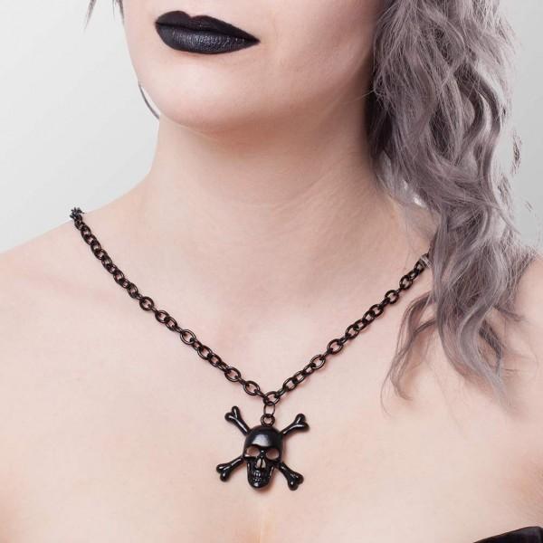 Metall Halskette mit Schädel Anhänger mit vier Knochen