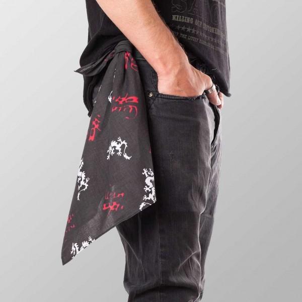 Bandana Halstuch Schwarz Drachen und Schriftzeichen 55 cm x 55 cm