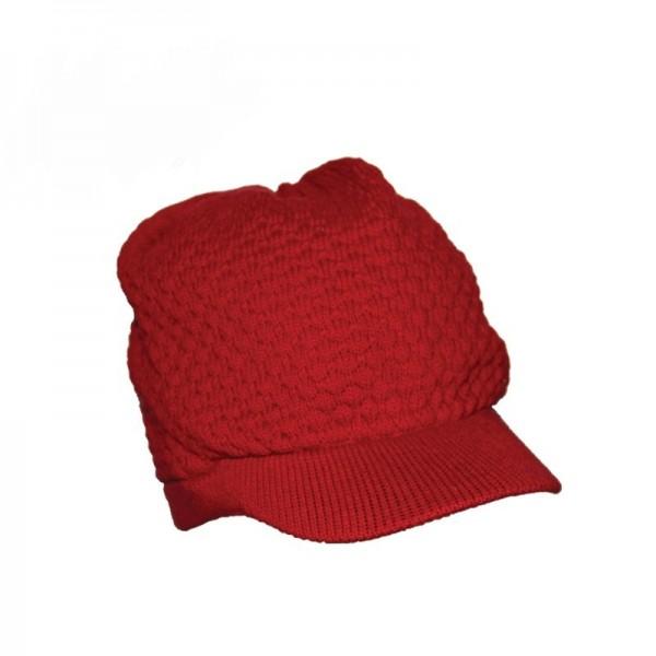 Gehäckelte Rasta Mütze mit Schirm in Rot Unisex