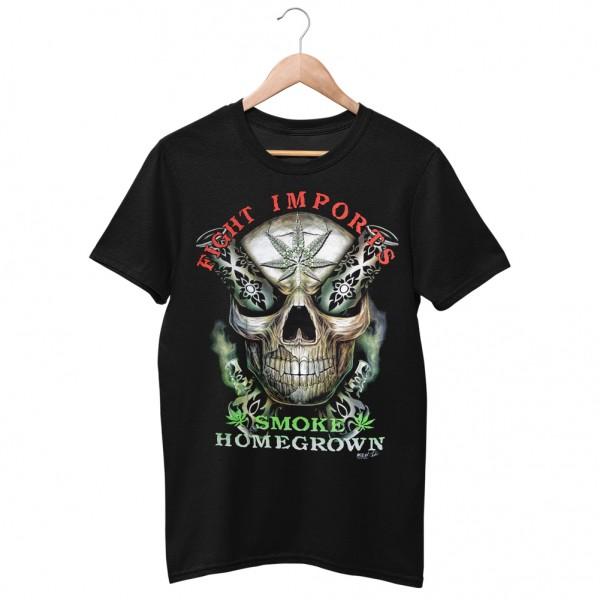 Wild Motiv Shirt Smoke Homegrown Skull