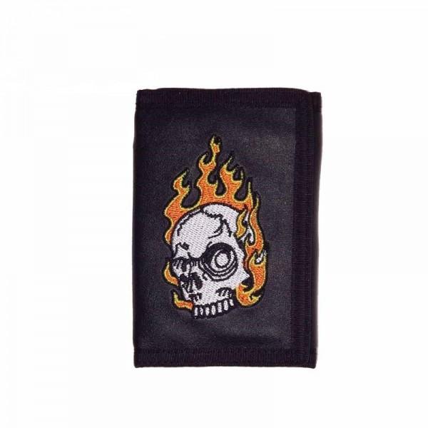 Geldbörse mit Flamendem Totenkopf Schädel inklusive Kette
