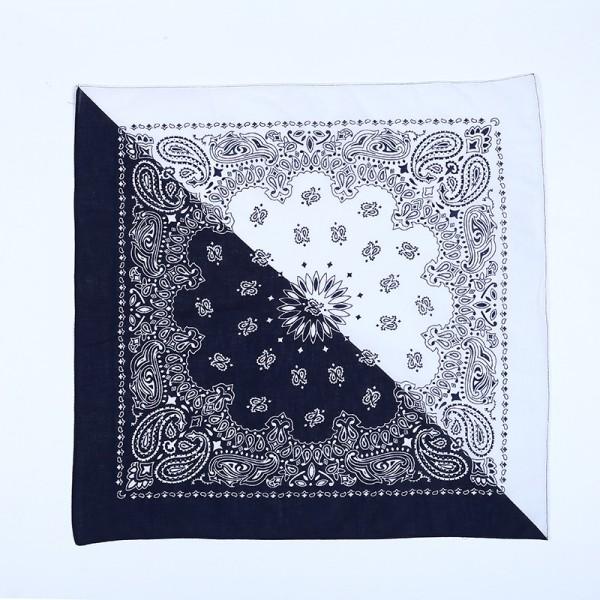 Bandana Halstuch Schwarz Weiß Paisley 55 cm x 55 cm