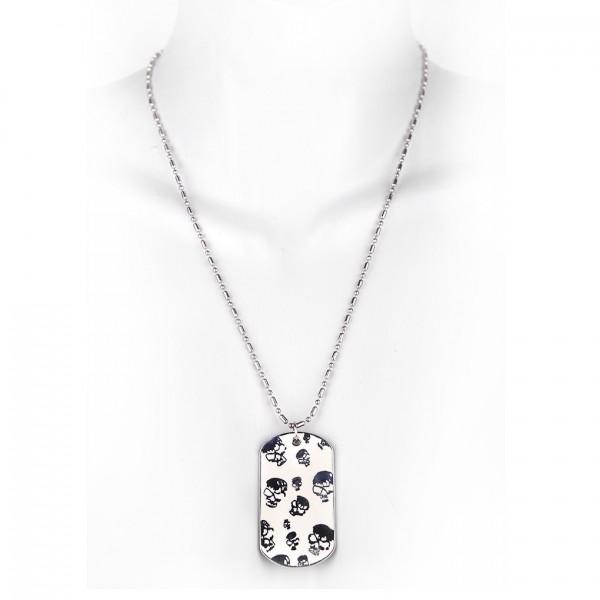 Metallkette mit Dog Tag (klein) - kleine Totenschädel - Weiß