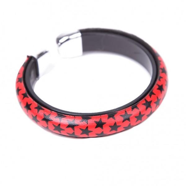 Kunstleder Armband Rot mit Schwarzen Sternen