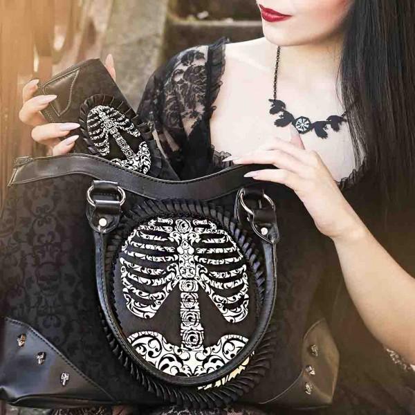 Banned Handtasche The Grave Brustkorb Aufdruck