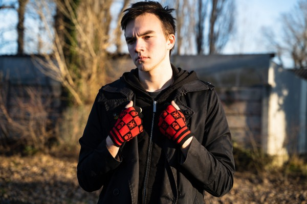 Schachbrett Handschuhe mit Skulls und Kreuzen Ohne Finger