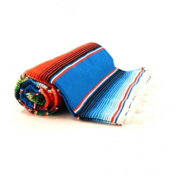 Original Mexikanische Decke mit Blauen Streifen Sarape
