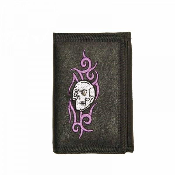 Geldbörse mit Tattoo Totenkopf Stickerei und Kette