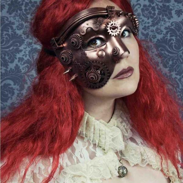 Halbes Gesicht Steampunk Maske mit Spitzen und Zahnrädern Bronze Maske Kupfer