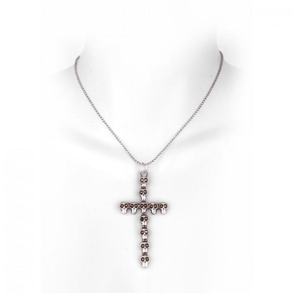 Metall Halskette mit Totenkopf Anhänger