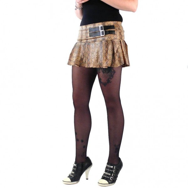 Brauner Schlangenhaut Damen Minirock one size