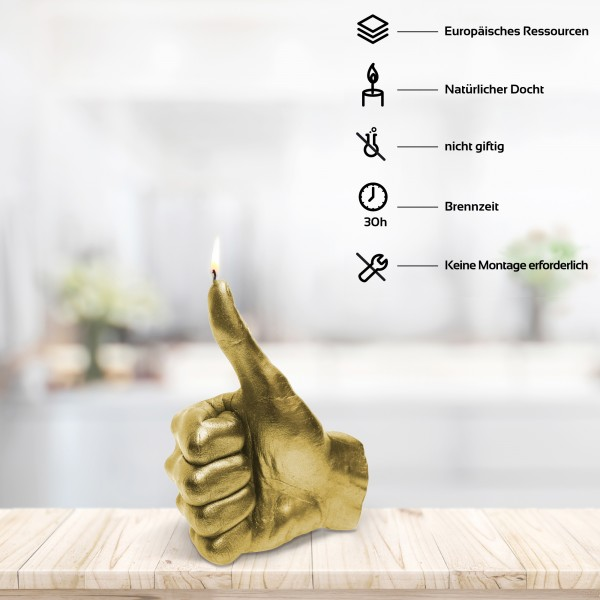 Thumbs Up! Goldene OK Kerze