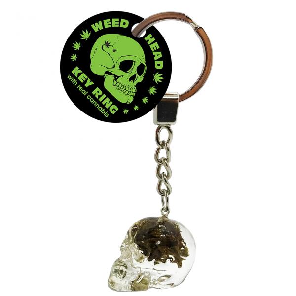 Cannabis Totenschädel Schlüsselanhänger