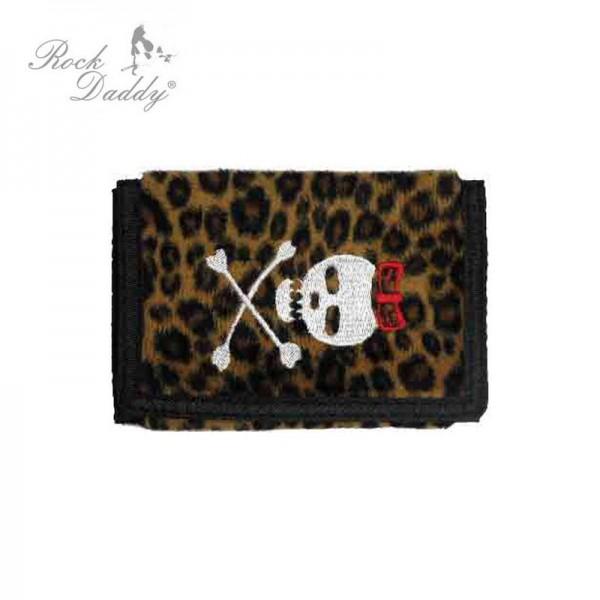 Leopard Geldbeutel mit Totenkopf Stickerei