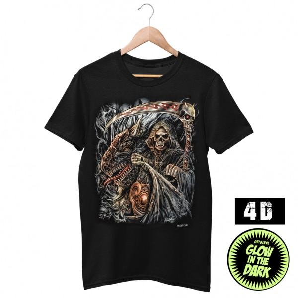 Wild Motiv Shirt Sensemann mit Drache schwarz