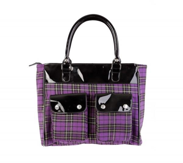 Shopper Tasche in Lila Tartanoptik