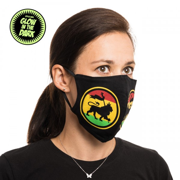 Rastafari Löwe Glow in the Dark Stoffmaske