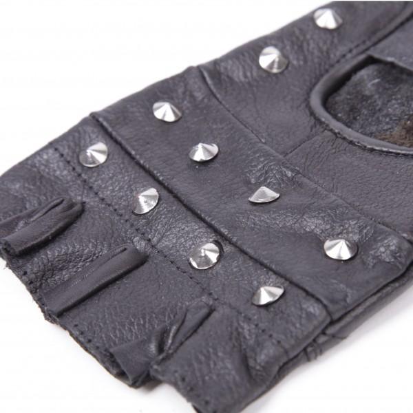 Schwarze Leder Handschuhe Classic mit Nieten