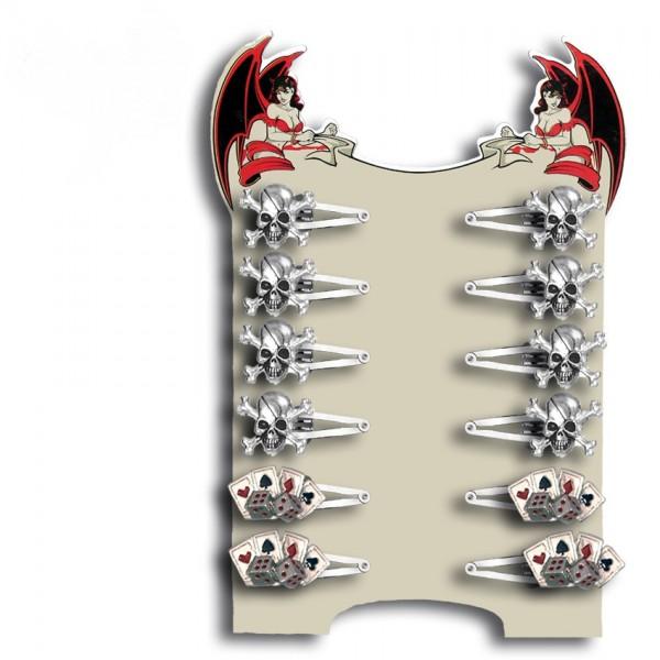 Totenkopf und Poker Karten Haarspangen Display