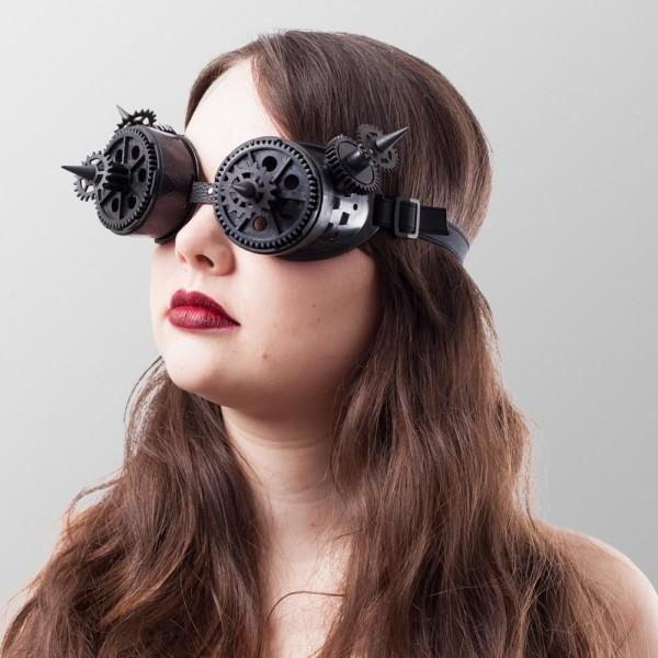 Brillen mit Zahnrädern und Spitzen - Schwarz