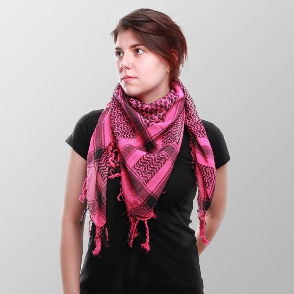 Palestina Damen Halstuch in Schwarz Pinker Farbwebung