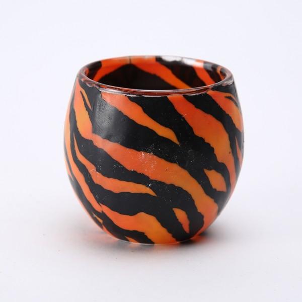 Fimo Glaswindlicht handgemacht orange schwarz mit Zebrastreifenmuster