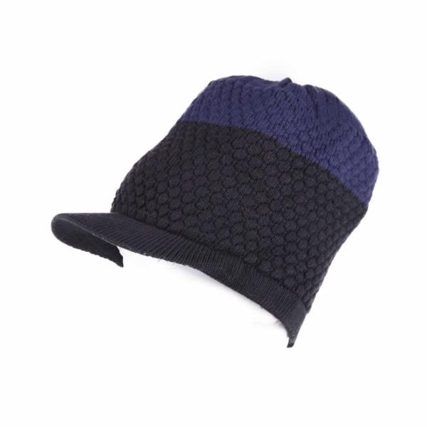 Bicolor Struktur Wintermütze Blau Schwarz Unisex