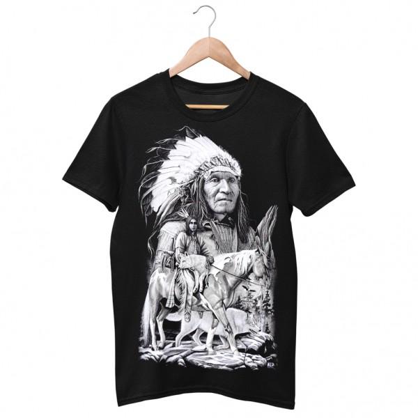 Wild Motiv Shirt Schwarz Indianer Häuptling