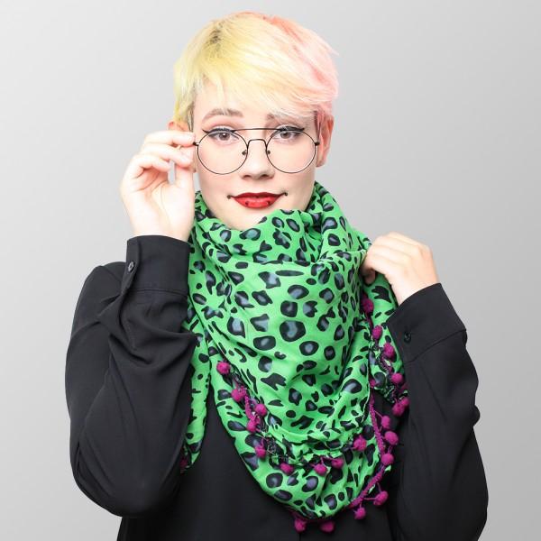 Baumwolltuch im Grünen Leoparden Look mit Lila Bommeln