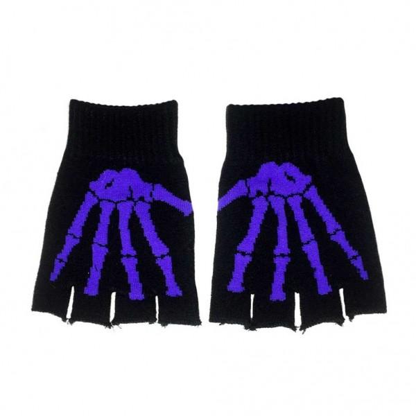 Lila Farbene Knochen Handschuhe Gewebt