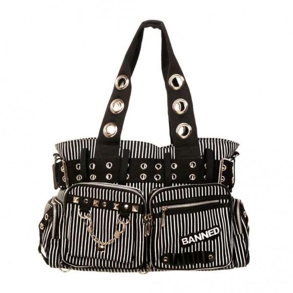 Banned Schwarz Weiß Gestreifte Handtasche