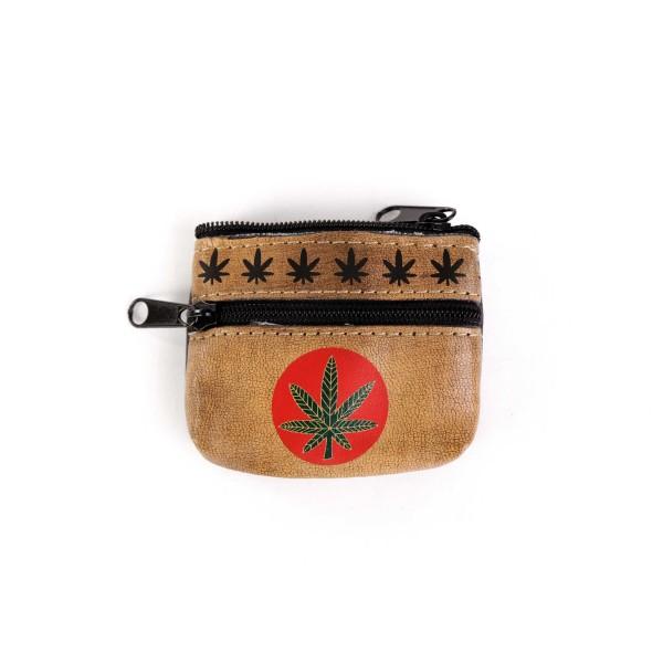 Raucher Börse mit Marihuana Blatt Aufdruck aus Hochwertigem Leder
