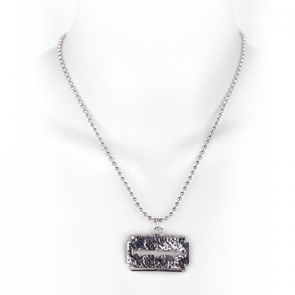 Metallkette Halskette mit Rasierklingen Anhänger