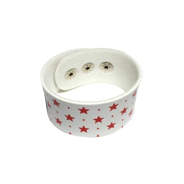 Kunstleder Armband Weiß mit Roten Sternen