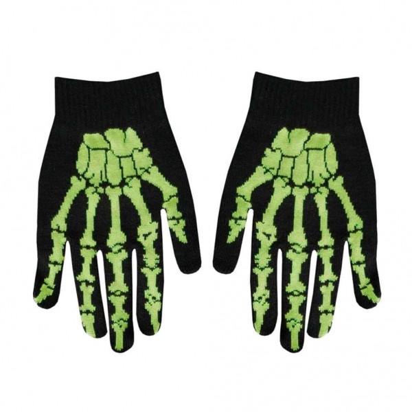 Gewebte Winter Handschuhe im Grünen Skelett Design