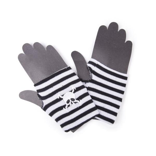 Gestreifte Fingerlose Handschuhe mit Piraten Skull Stickerei