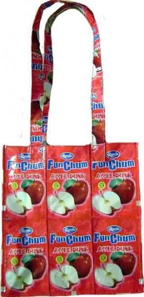 Recycling Fruchtsaft Apfel Einkaufstasche in Rot