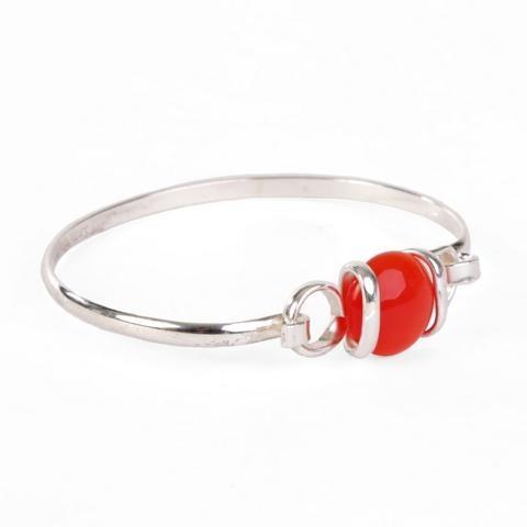 Alpaca Versilbertes Sommer Armband Roter Stein