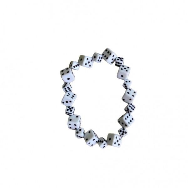 Kleines Weißes Würfel Armband