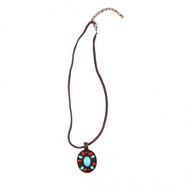 Ethno Stein Amulet Halskette
