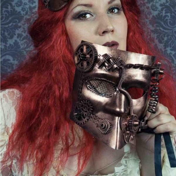 Venezianische Steampunk Maske mit Zahnrädern und Spitzen Bronze Maske Kupfer