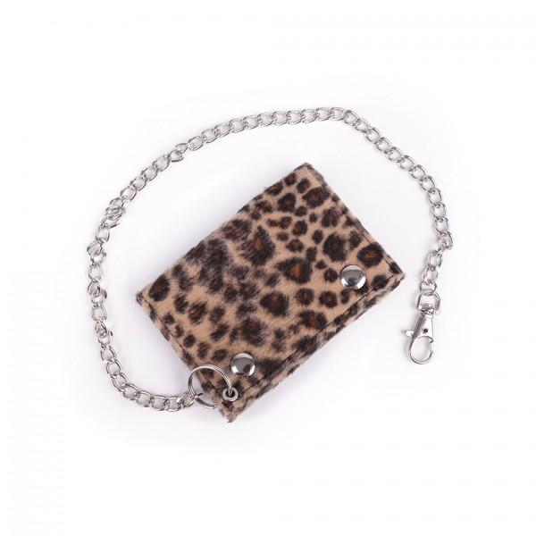 Braune Unisex Rockabilly Leoparden Fell Geldbörse mit Kette