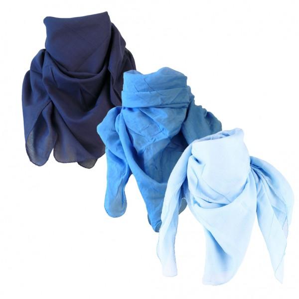 Halstücher Baumwolltuch in Blau 3er Set
