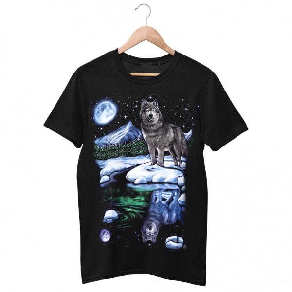 Wild Motiv Shirt Schwarz Einsamer Wolf in der Wildnis