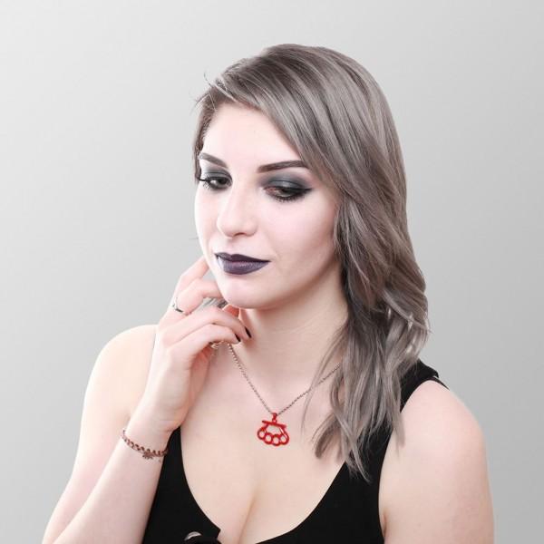 Halskette mit Schlagring Anhänger - Rot