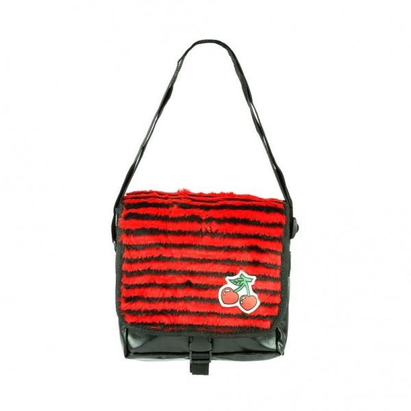 Schwarz Rot Gestreifte Pelz Umhänge Tasche mit Kirschen Patch