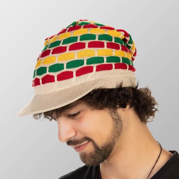 Gestrickte Rasta Kopfbedeckung in Beige mit Rasta Farben Unisex